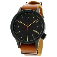 Komono Magnus Black Dial Cognac Brown Leather Mens Watch KOM-W1901