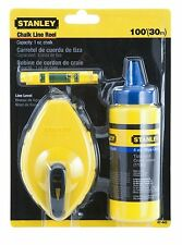 NEW Stanley 30m 100ft Blue Chalk Line Winder Reel & Spirit Level Kit, STA047443