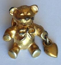 Teddy Bear With Heart Golden Style Small Pin Brooch Rare Vintage (H3)