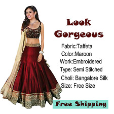 Lehenga Semi Stitched Choli Designer Indian Bollywood Silk Maroon Wedding Ethnic