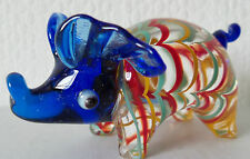 BRAND NEW HAND BLOWN  MURANO STYLE GLASS BLUE HEADED PIG ORNAMENT in BOX