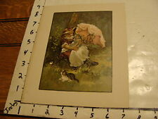 VINTAGE PRINT----girl with baby doll under umbrella and cat
