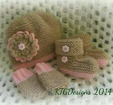 Knitting pattern not actual items to knit baby girls hat mitts bootees dk sandy