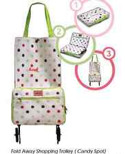 CANDY SPOT FOLDING FOLDABLE SHOPPING TROLLEY BAG WITH WHEELS LIGTWEIGHT FOLD UP