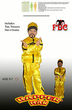 ALI G CHILD RAPPER MAN YELLOW TRACKSUIT AND BEARD FANCY DRESS COSTUME