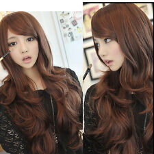 Womens Fashion Natural Light Brown Wavy Curly Long Weave Hair Cosplay Party Wig