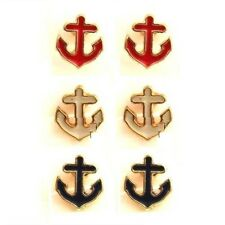 E758 Forever 21 Boat Anchor Ship Sailor Red Blue Yellow 3 Pairs Set Earrings US