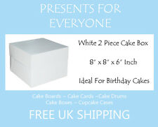 "5 x 8"" x 8"" x 6"" Inch White Cake Box Birthdays Weddings"
