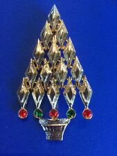Rare Vintage Art Deco Signed Tancer II Gold Tone Christmas Tree Pin Brooch