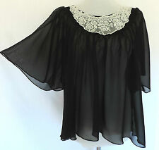 Romantic Goth BLACK SHEER CHIFFON LOOSE FIT TOP Floaty Sleeves DARK MORI GIRL 14