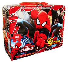 """ULTIMATE SPIDER-MAN 48pc 15""""x12.5"""" Puzzle + TIN LUNCHBOX CASE For Kids MARVEL"""