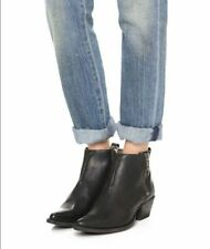 FRYE $298 BLACK  LEATHER SACHA MOTO SHORTIE ANKLE BOOTS  8