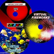 VIRTUAL FISH TANK, FIREWORKS & LAVA LAMP 3 RELAXING DVD VIDEOS VIEW TV/PC NEW