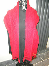 Unworn LUKE 1977 Red Wool Blend Cable Knit Scarf With Fringe. Unisex.