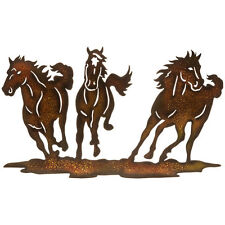 Beautiful Running Trio Horses Metal Wall Decor Country Western Home Decoration