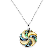 "Shimmering Round Abalone Shell Pendant w/20"" Chain in Stainless Steel"