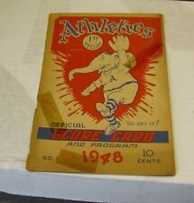 1948 Philadelphia Athletics Detroit Tigers Baseball Program Hal Newhouser Signed