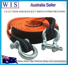 2 X 3.2 T BOW SHACKLES &HEAVY DUTY 12000kg 8M SNATCH STRAP RECOVERY 4WD OFF ROAD