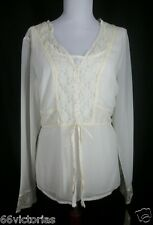 EMMA JAMES New Size 12 Ivory Sheer Lace top Blouse 2 Pc Long Sleeve