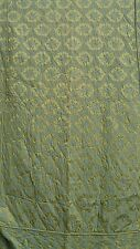 Pair quilted vintage mid-century twin bedspreads green gold blue fitted