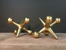 Gold Cast Iron Jacks Bookends Paperweights Jax Mid Century Modern Style Decor