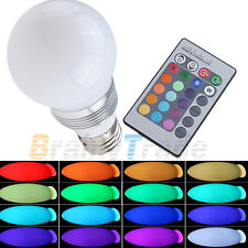 3W E27 LED Energy Saving Bulb Party Light Lamp 16 Colors with Remote Control NEW