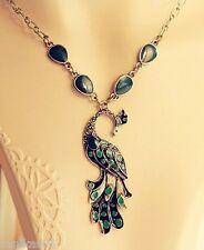 vintage peacock fearther pendant necklace green fashion jewelry for girls