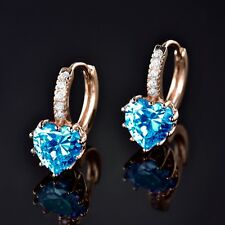 Cheap Earrings 18k gold filled sapphire aquamarine party hoop earrings jewelry