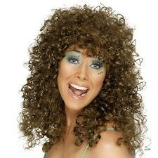 Ladies 80s 1980s Boogie Babe Fancy Dress Wig Brown Perm Curly New by Smiffys