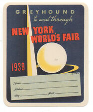 1939 Greyhound Luggage Label from the New York World's Fair