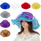 Women Organza Kentucky Derby Wide Brim Hat Church Dress Occasion Formal Hat