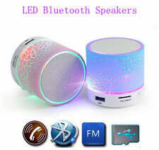 Wireless Mini LED Lights Bluetooth Speaker - FM Radio, Microphone & MicroSD Slot