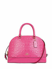 NWT Coach Debossed Patent Leather Sierra Handbag in Dahlia F 38120 $450