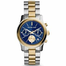 BRAND NEW MICHAEL KORS MK6165 RUNWAY NAVY DIAL TWO TONE CHRONOGRAPH WOMENS WATCH