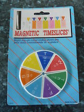 WEEKLY PLANNER MAGNETIC TIME SLICE  FRIDGE MAGNETS BRIGHT DAY GLO COLOUR