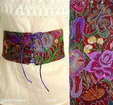 "MEXICAN EMBROIDERED Floral Red 4"" WIDE LACE UP CORSET Cinch BELT XS/S W: 25"""