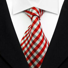 Classic Striped Tie Red White JACQUARD WOVEN Men's Silk Suits Ties Necktie L021