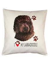 Labradoodle Heart Breed of Dog Cotton Cushion Cover - Perfect Gift