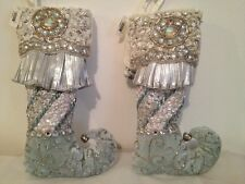 """Katherine's Collection Christmas Stockings Ornaments 11"""" Beaded Mint Blue Set"""