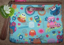 NWT Lily Bloom Blue/Pink OWL ALWAYS LOVE YOU Tristin WRISTLET/CLUTCH Purse Bag
