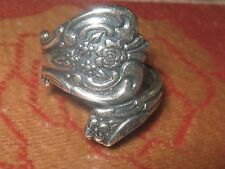HANDMADE USA VINTAGE ANTIQUE STYLE ADJUSTABLE ROSE SILVER SPOON RING SIZE  4-10