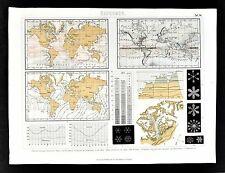 1874 Meteorology World Map Ocean Wind Currents Mount Blanc Glaciers Snow Flakes