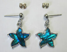 New Stud Earrings Silver Tone & Teal Blue Paua Shell Star Shape Fashion Earring