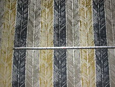 Manuel Canovas Gold & Grey Jacquard Feather Stripe Furnishing Fabric, 1.5 mts