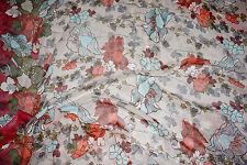 1  1/4y TSI Designer Silk Chiffon Fabric Floral Border Print   Apparel Bfab