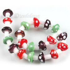 1String 19pcs Colorized Mushroom Style Lampwork Glass Spacer Beads Findings L