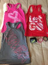 Lot3 Zumba Womens Fashion Tank Tops Work Out Training Sz S/M Let Go Red Pink Gry