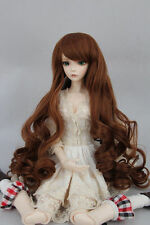 "BJD Doll Hair Wig 6-7"" 1/6 SD DZ DOD LUTS Brown Long Curly Wig"