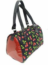 US HANDMADE DOCTOR BAG RED CHERRY ROCKABILLY  WITH SHINY RED PATTERN, NEW,