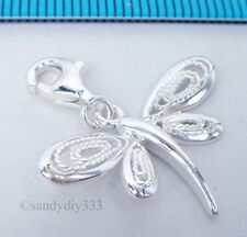 1x STERLING SILVER DRAGONFLY CHARM PENDANT EUROPEAN LOBSTER CLIP ON CHARM #1795